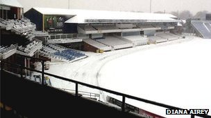 Snow at Headingley stadium