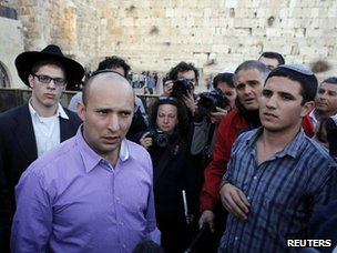 Naftali Bennett (2nd Right) at the Western Wall in Jerusalem