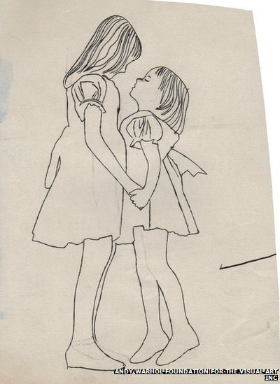 Two girls holding hands 1954 andy warhol foundation for the visual