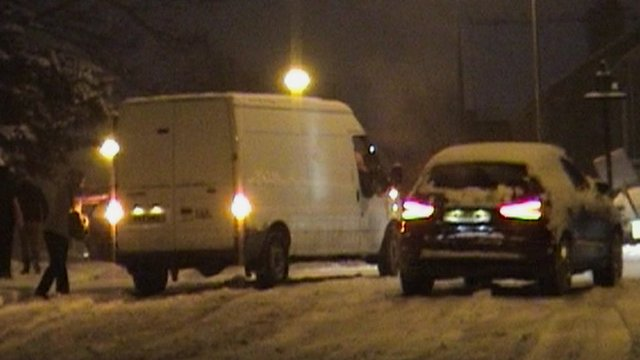 Vehicles in snow in Fulwood