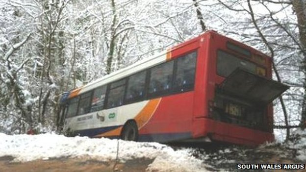 Bus at Abercarn [Pic: South Wales Argus]