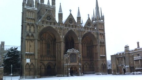 Peterborough Cathedral in the snow