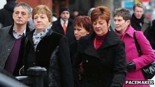 The family of Trevor Buchanan arrive at Belfast court for the appeal on Monday