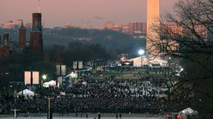 Crowds gather in front of the Washington Monument ahead of Barack Obama's inauguration for his second term as US president