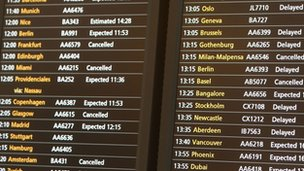 Heathrow Airport arrivals board