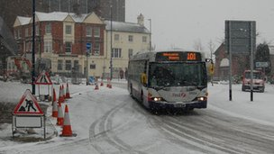 Bus in snow in Hanley