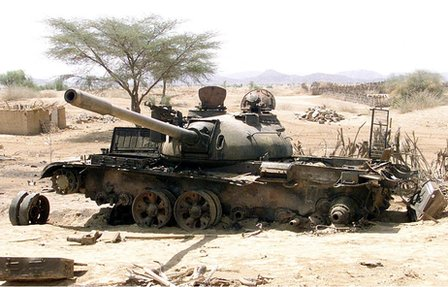Ethiopian tank destroyed in 1998-2000 border war with Ethiopia