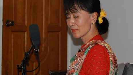 Aung San Suu Kyi soaks up the music during the recording