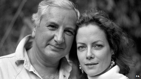 Michael Winner with Jenny Seagrove at their home in Holland Park, West London, in 1988
