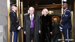 Former Presidential Candidate Newt Gingrich and his wife, Callista, at the inauguration 21 January 2012