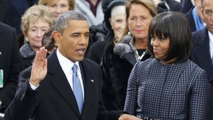 Barack Obama and Michelle Obama at his second presidential inauguration 21 January 2013