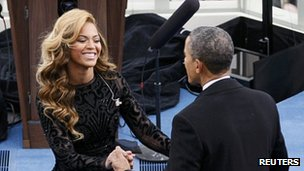 Beyonce Knowles and Barck Obama at the presidential inauguration 21 January 2013