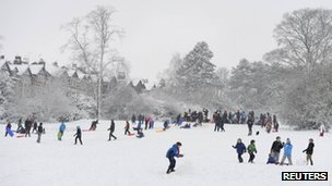 People enjoying the snow in Harrogate