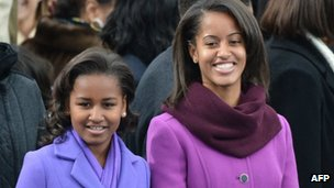 Sasha (L) and Malia Obama at the Capitol