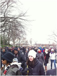 Crowds leaving the National Mall