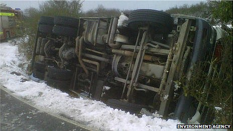 Overturned oil tanker