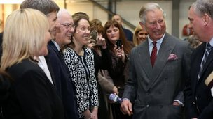 Prince Charles meets members of staff at Jaguar Land Rover in Halewood