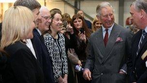 Prince Charles meets members of staff at Jaguar Land Rover in Halewood