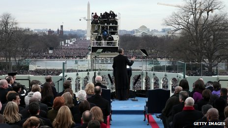 President Barack Obama delivers his second inauguration speech
