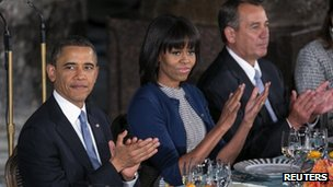 President Barack Obama (left), First Lady Michelle Obama and House Speaker John Boehner at an inaugural luncheon 21 January 2013