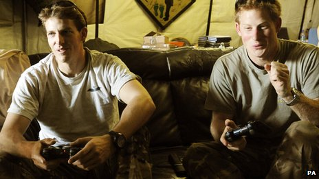 Prince Harry, right, in Afghanistan