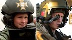 Prince Harry in helicopter gear pictured, left, aged eight, and, right, aged 28