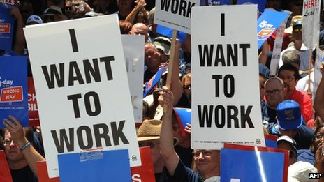 Protesters in Los Angeles holding signs saying &quot;I Want to Work&quot;. File photo