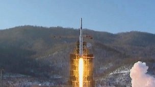 North Korea's rocket lifts off on 12 December 2012