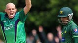 Ireland's Trent Johnston appeals for lbw against Pakistan's Taufeeq Umar