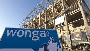 Wonga logo at St James' Park