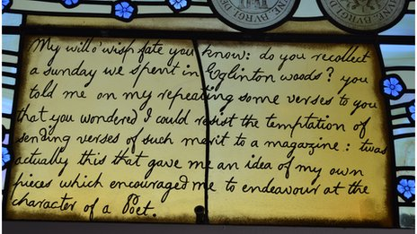 A window at Irvine Burns Club tells how he was inspired to be a poet.