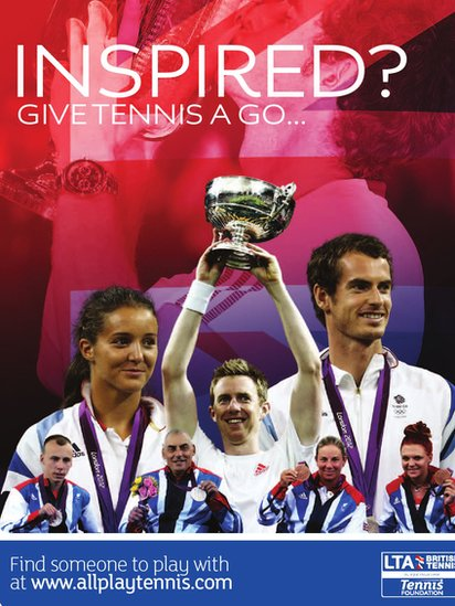 Poster using the success of UK players in 2012 to encourage more people to play tennis