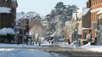 Snowy scene of Ashbourne, in Derbyshire