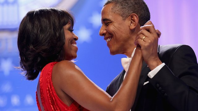 Michelle and Barack Obama dancing