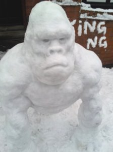 A gorilla snow sculpture in Leicester