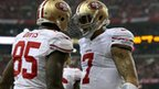 Vernon Davis #85 and Colin Kaepernick #7 of the San Francisco 49ers
