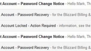 Screen grab of email account