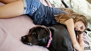 Girl relaxes with dog