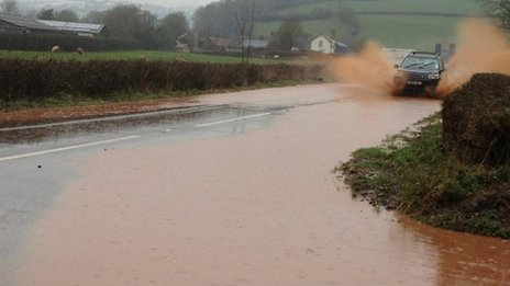 Flooding on the A396 between Bickleigh and Rewe, 22 January 2013