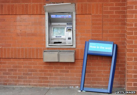 Vandalised cash machine