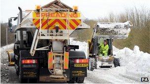 Gritters near Birdlip in Gloucestershire
