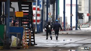 Emergency workers at the Lubrizol factory in Rouen, from where foul smelling industrial gas has leaked