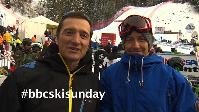 Ed Leigh on Ski Sunday with co-presenter Graham Bell