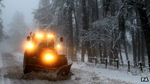 Farmer clears road near Auchterarder, Perth and Kinross