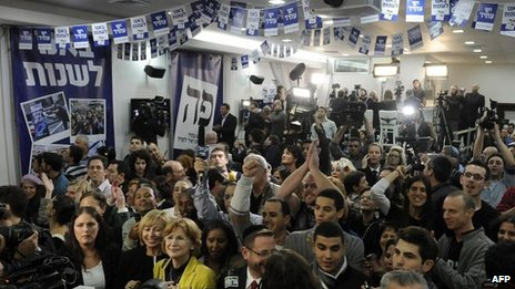 Supporters of Yesh Atid centre-left party, Tel Aviv (22 January)