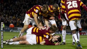 Bradford players celebrate in the first leg