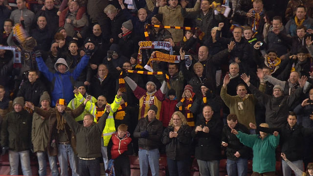 Bradford City fans at Villa Park