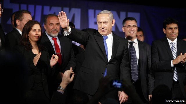 Benjamin Netanyahu on stage