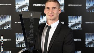 Sam Tomkins with the Man of Steel trophy