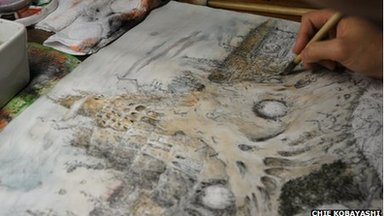 Award winning Japanese artist Koji Yamamura drawing in his studio